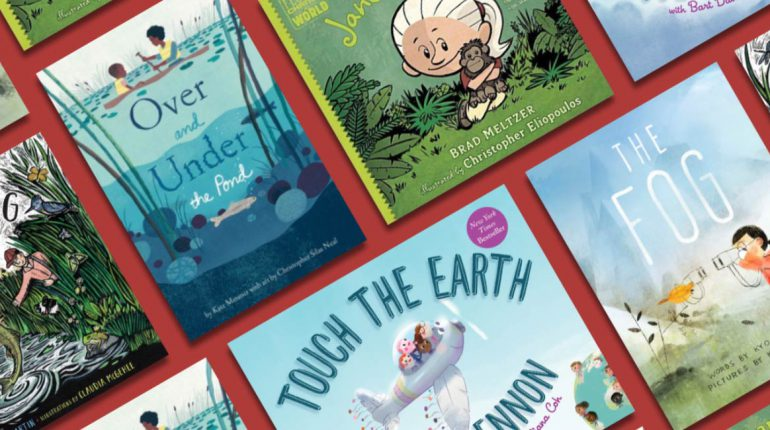 photo of various children's book covers. Exact titles and authors not visible