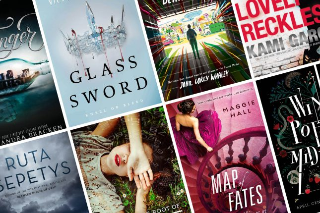 photos of various teen book covers: Exact titles and authors not visible