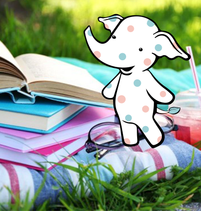 picture of a stack of books, eyeglasses, and a poka dotted elephant