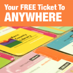 wording: 'Your Free Ticket to Anywhere' over library cards
