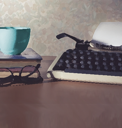 image: typewriter, books, coffee cup and eyeglasses